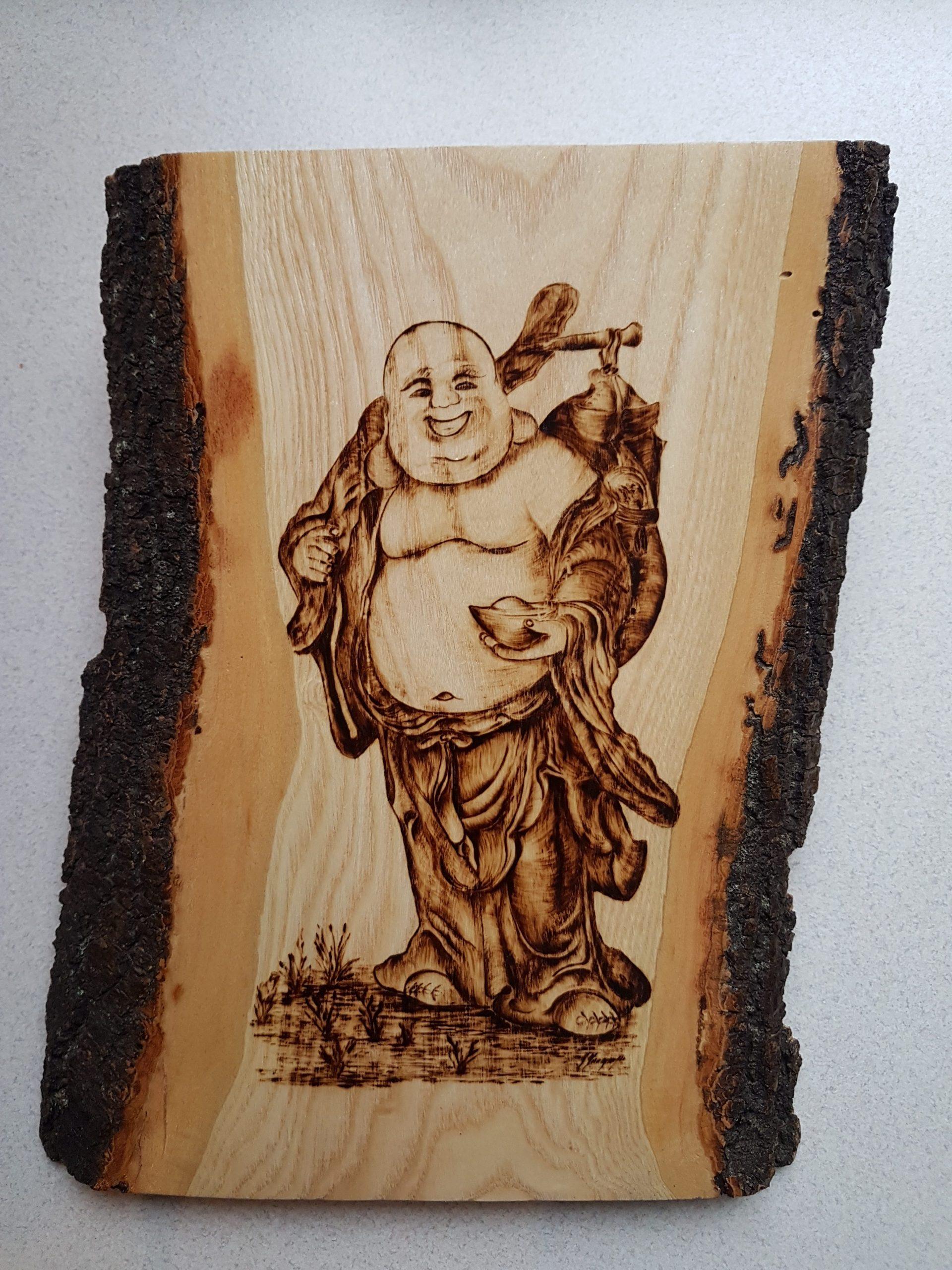 wypalanie w drewnie, sylwia, pirografia, janczyszyn, pyrography, handmade, rękodzieło, pomysł na prezent, budda,