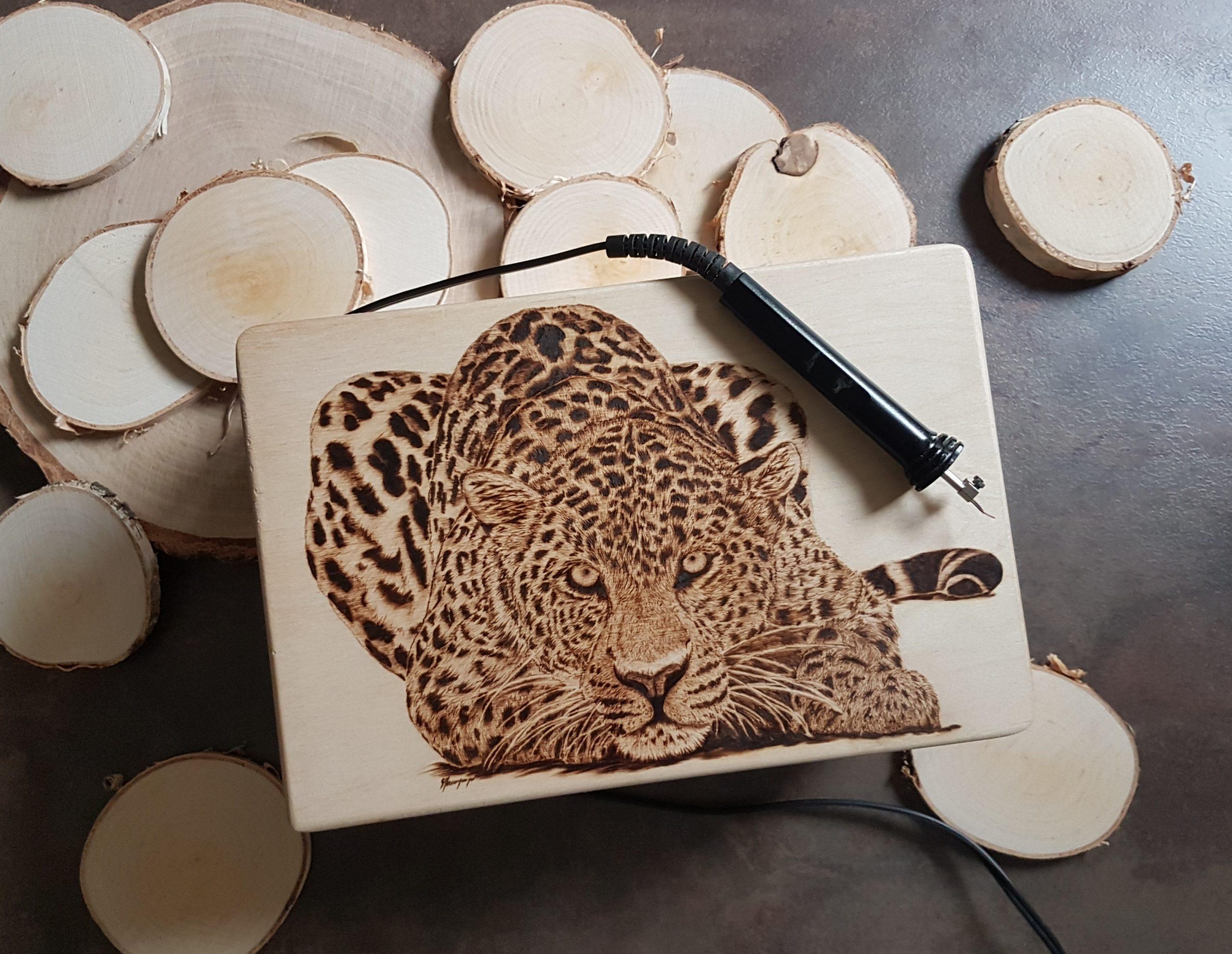 wypalanie w drewnie, sylwia, pirografia, janczyszyn, pyrography, handmade, rękodzieło, pomysł na prezent, pudełko, lampart