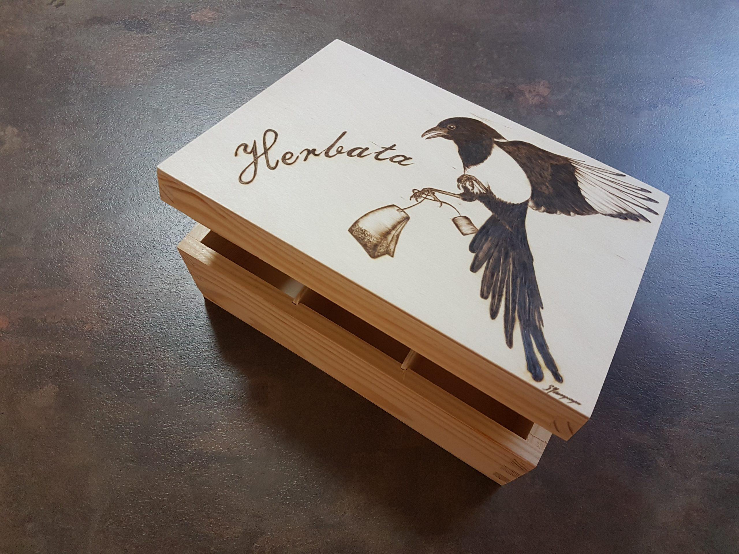 wypalanie w drewnie, sylwia, pirografia, janczyszyn, pyrography, handmade, rękodzieło, pomysł na prezent, pudełko na herbatę
