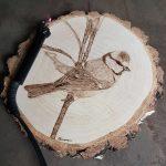 wypalanie w drewnie, sylwia, pirografia, janczyszyn, pyrography, handmade, rękodzieło, pomysł na prezent, sikorka