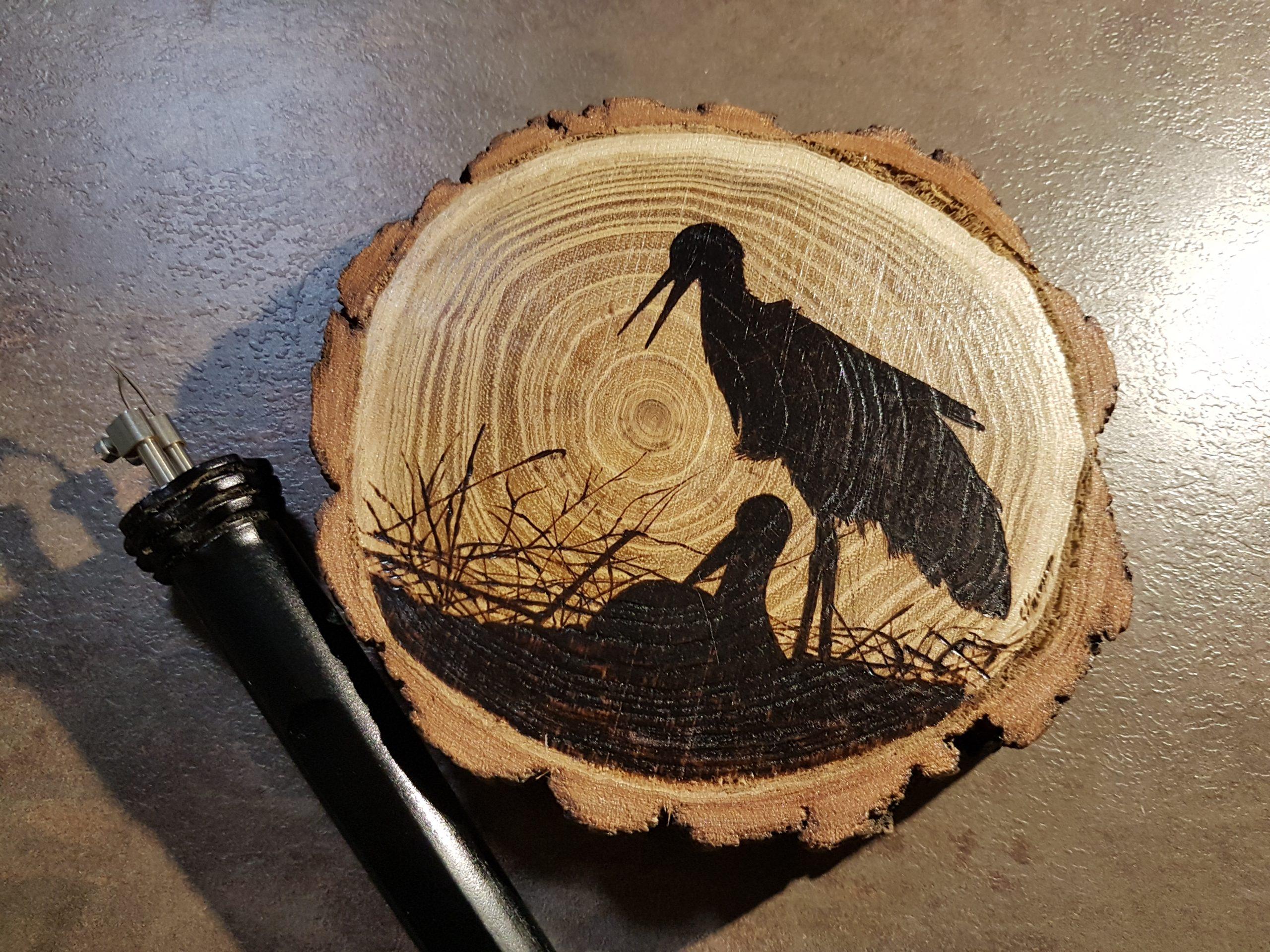wypalanie w drewnie, sylwia, pirografia, janczyszyn, pyrography, handmade, rękodzieło, pomysł na prezent, bociany