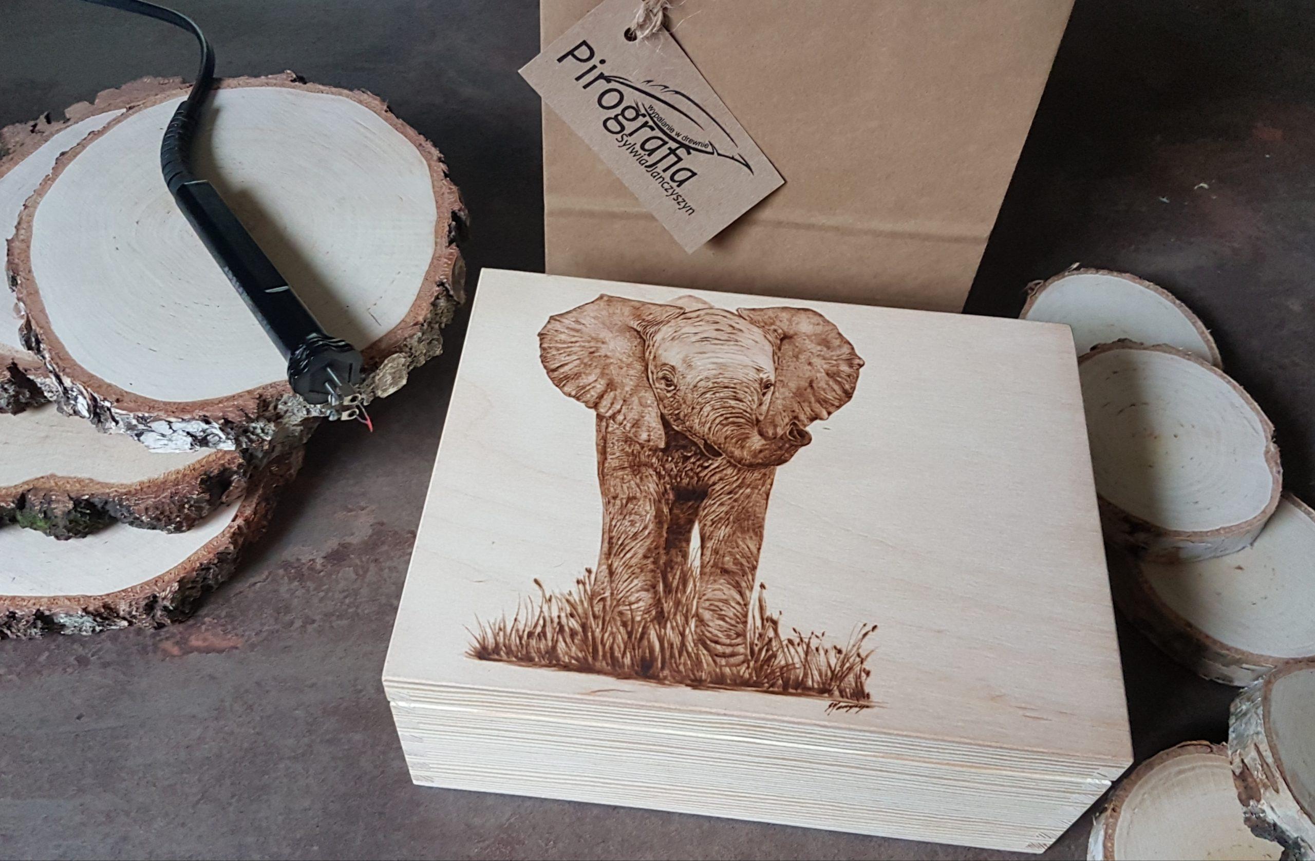 wypalanie w drewnie, sylwia, pirografia, janczyszyn, pyrography, handmade, rękodzieło, pomysł na prezent, pudełko na biżuterię, słoń