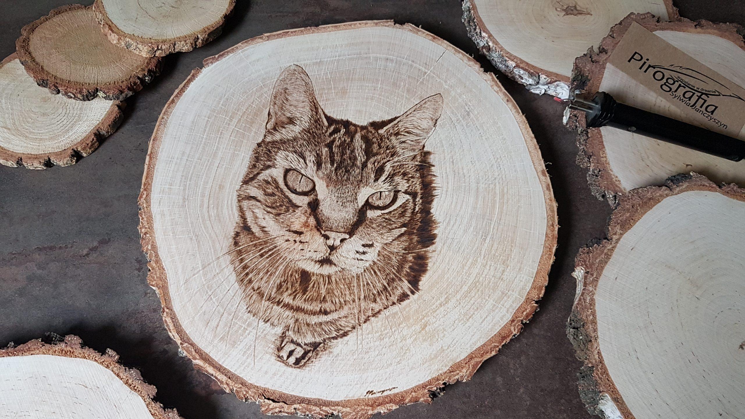 wypalanie w drewnie, sylwia, pirografia, janczyszyn, pyrography, handmade, rękodzieło, pomysł na prezent, kot