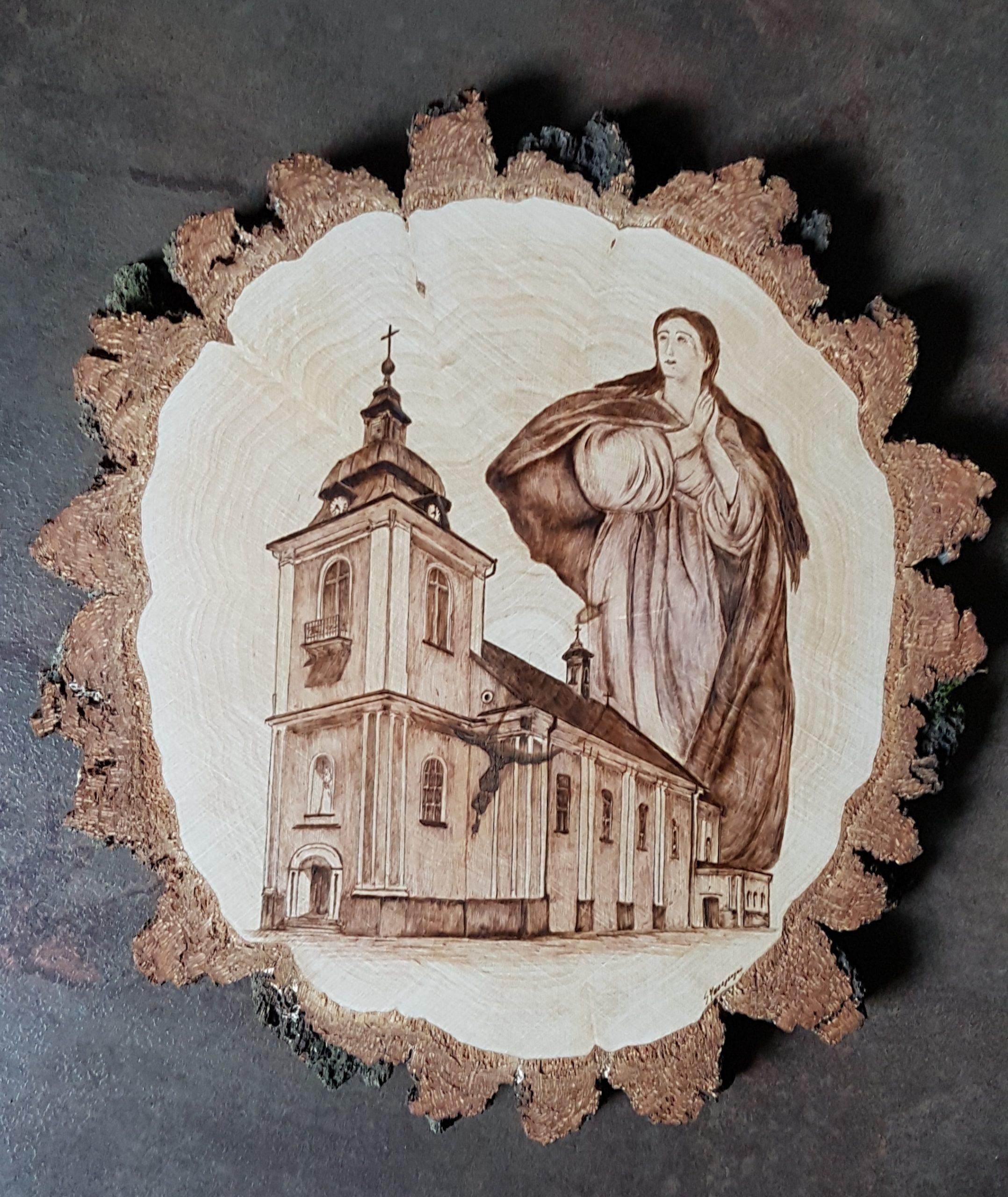wypalanie w drewnie, sylwia, pirografia, janczyszyn, pyrography, handmade, rękodzieło, pomysł na prezent, pamiątka, kościół
