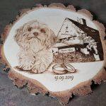 wypalanie w drewnie, sylwia, pirografia, janczyszyn, pyrography, handmade, rękodzieło, pomysł na prezent, pamiątka ślubna, portret psa