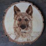 wypalanie w drewnie, sylwia, pirografia, janczyszyn, pyrography, handmade, rękodzieło, pomysł na prezent, pies, portret psa, na zamówienie
