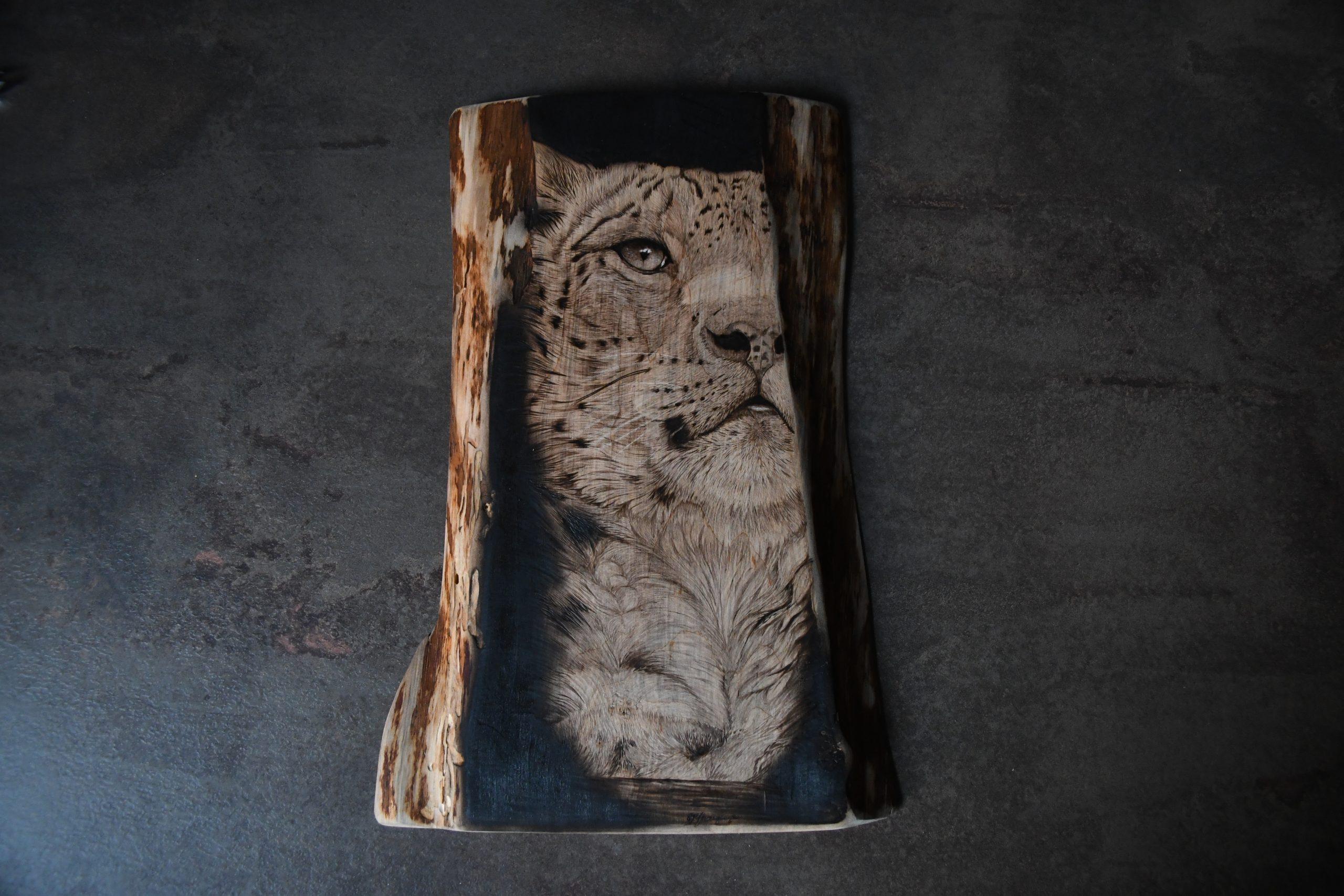 wypalanie w drewnie, sylwia, pirografia, janczyszyn, pyrography, handmade, rękodzieło, pomysł na prezent, zwierzęta, portrety zwierząt, irbis