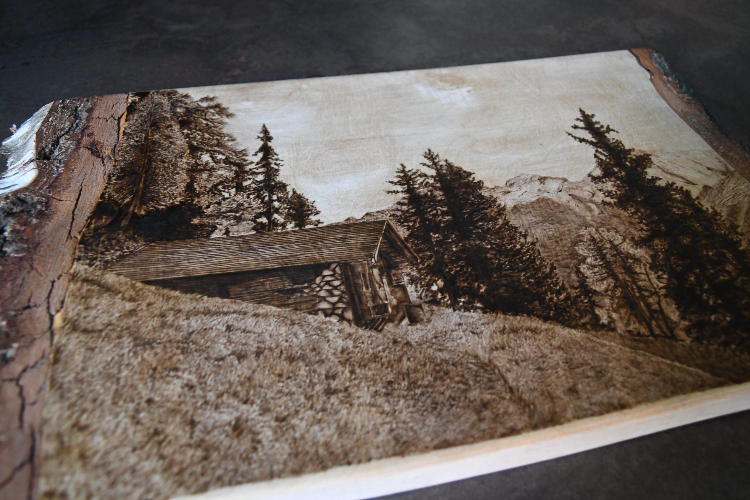 wypalanie w drewnie, sylwia, pirografia, janczyszyn, pyrography, handmade, rękodzieło, pomysł na prezent, krajobraz, na zamówienie,