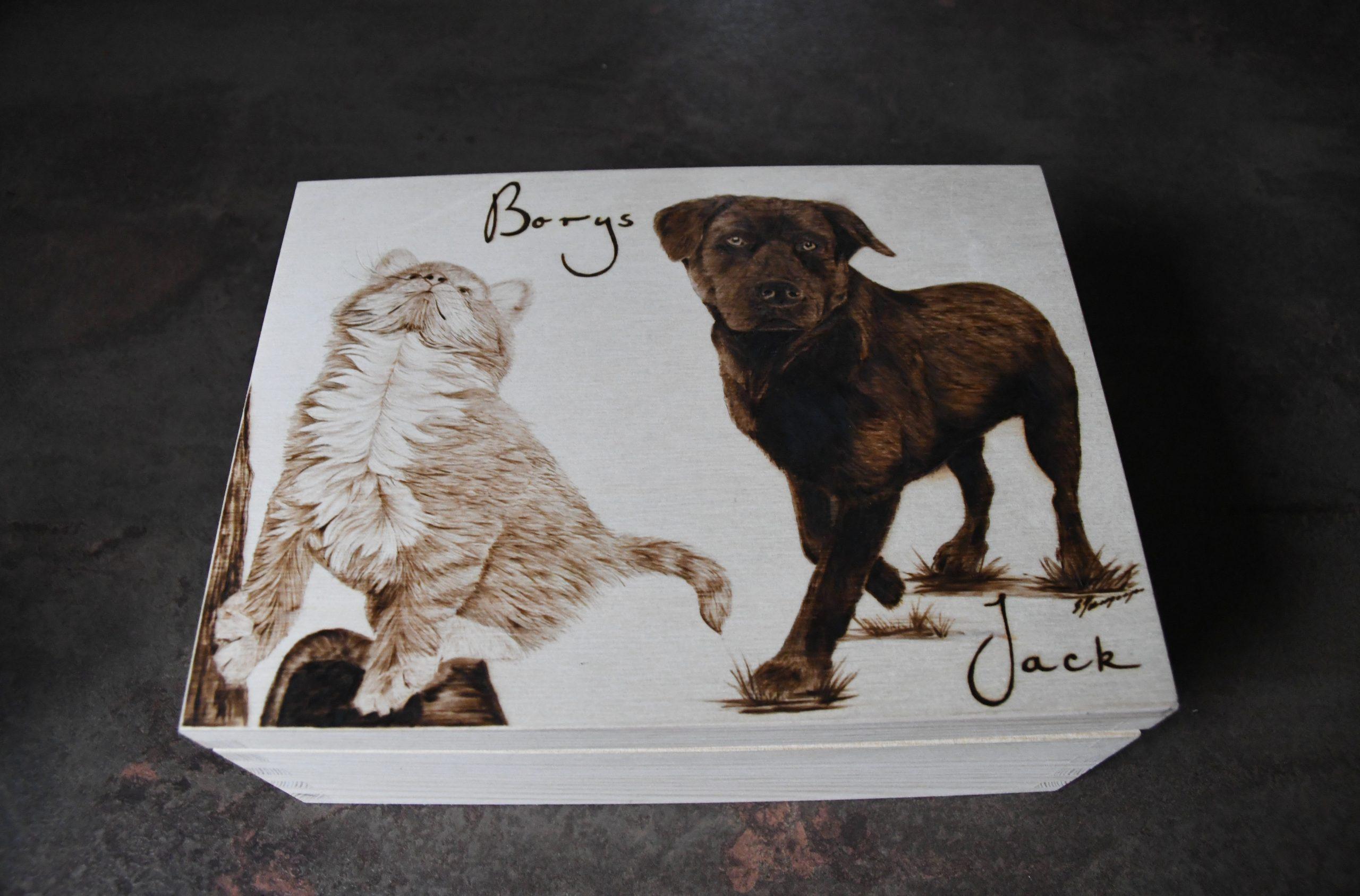 wypalanie w drewnie, sylwia, pirografia, janczyszyn, pyrography, handmade, rękodzieło, pomysł na prezent, zwierzęta, pudełko z portretem