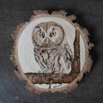 wypalanie w drewnie, sylwia, pirografia, janczyszyn, pyrography, handmade, rękodzieło, pomysł na prezent, zwierzęta, włochatka
