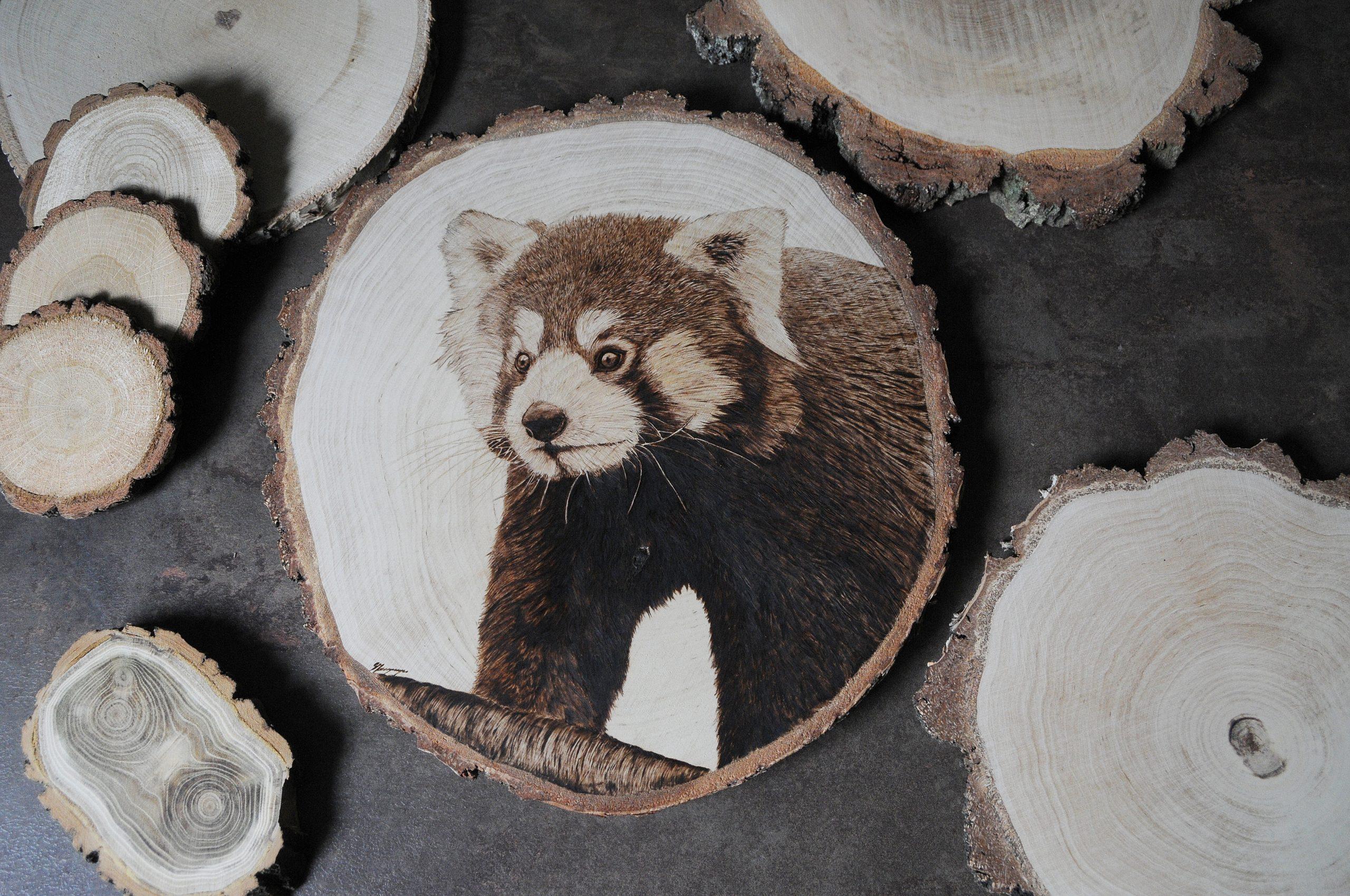 wypalanie w drewnie, sylwia, pirografia, janczyszyn, pyrography, handmade, rękodzieło, pomysł na prezent, panda mała