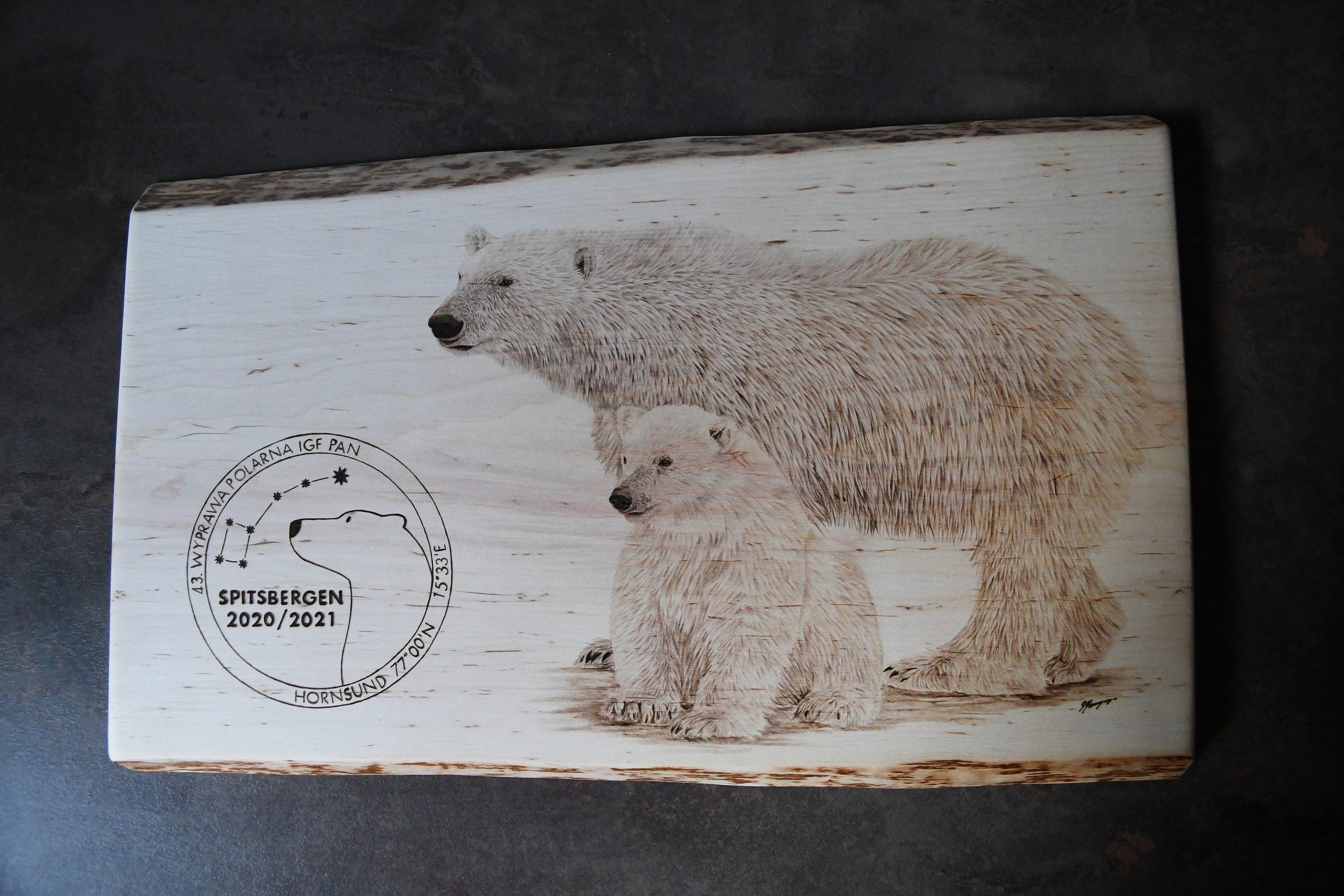 wypalanie w drewnie, sylwia, pirografia, janczyszyn, pyrography, handmade, rękodzieło, pomysł na prezent, niedźwiedź polarny, na zamówienie