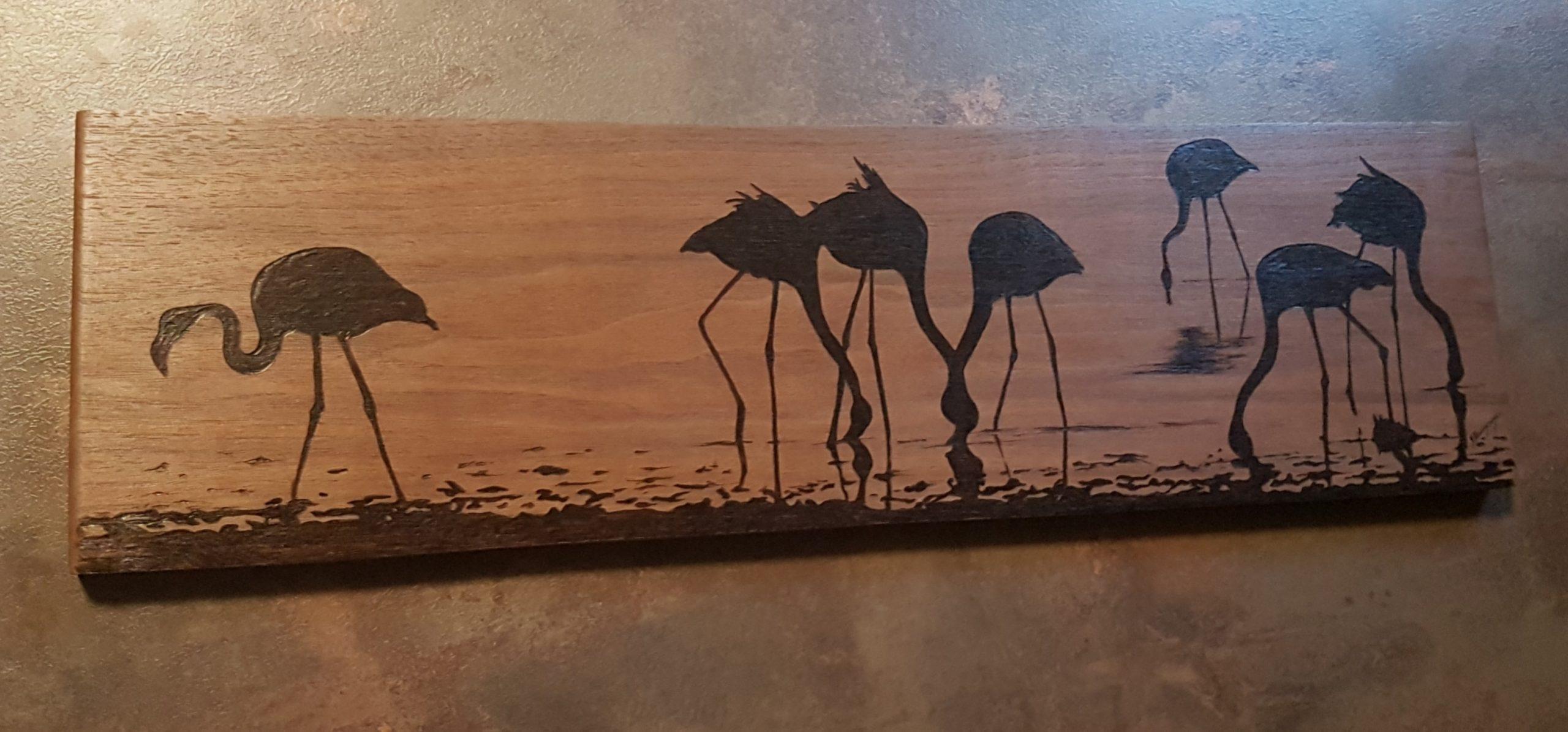 wypalanie w drewnie, sylwia, pirografia, janczyszyn, pyrography, handmade, rękodzieło, pomysł na prezent, flamingi