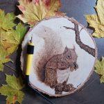 wypalanie w drewnie, sylwia, pirografia, janczyszyn, pyrography, handmade, rękodzieło, pomysł na prezent, wiewiórka