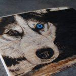 wypalanie w drewnie, sylwia, pirografia, janczyszyn, pyrography, handmade, rękodzieło, pomysł na prezent, portret psa, husky