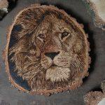 pirografia, janczyszyn, pyrography, handmade, rękodzieło, pomysł na prezent, lew