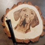 wypalanie w drewnie, pirografia, janczyszyn, pyrography, handmade, rękodzieło, pomysł na prezent, wyżeł, portret psa,