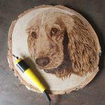 wypalanie w drewnie, sylwia, pirografia, janczyszyn, pyrography, handmade, rękodzieło, pomysł na prezent, pies, portret psa